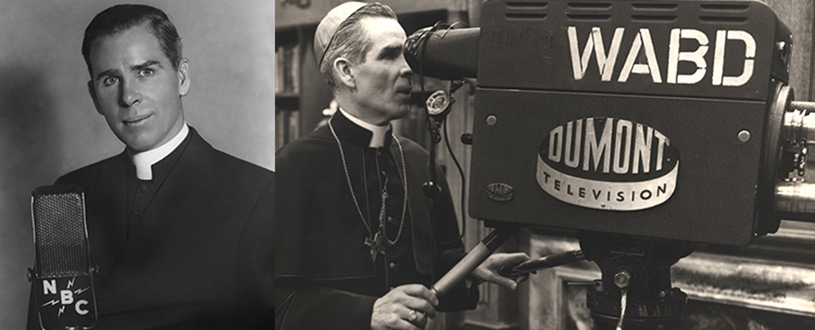 Fulton Sheen on a TV set