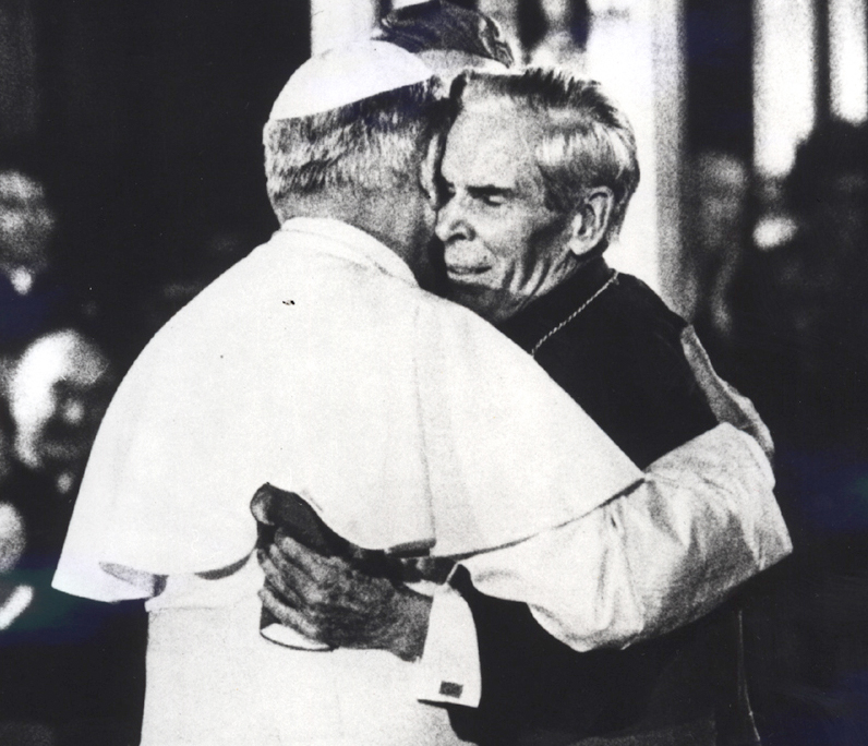 Pope John Paul II hugging Fulton Sheen